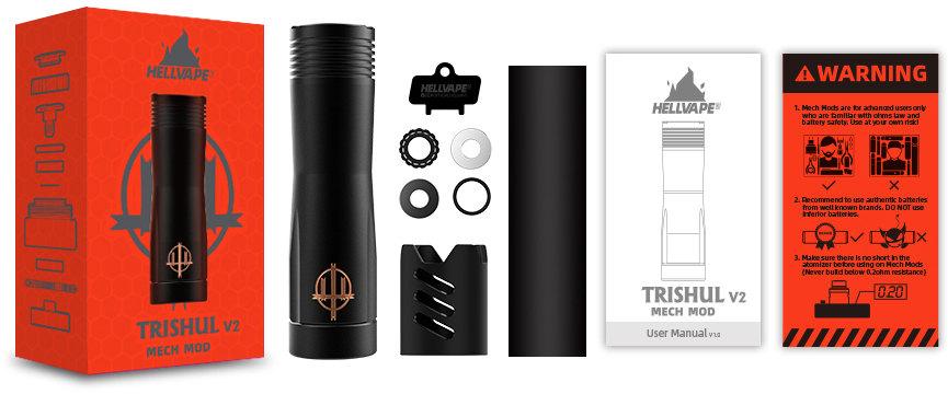 Contenu boîte Trishul V2 Mech Mod - Hellvape