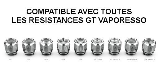 Clearomiseur NRG-S compatible avec toutes les résistances GT Vaporesso