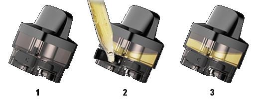 Remplissage d'e-liquide du Pod Vinci X Voopoo