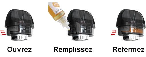 Remplissage d'e-liquide du Pod POZZ X SMOK